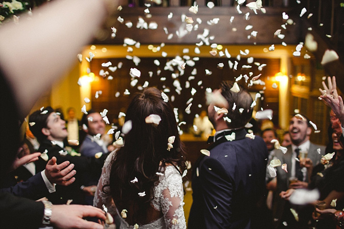 Wedding Photographer Essex - Layer Marney Tower Indoor Confetti Shot