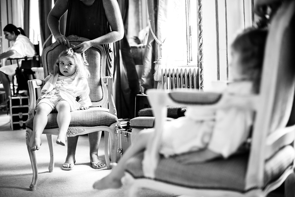 Gosfield Hall Wedding - Flower girl during bridal prep