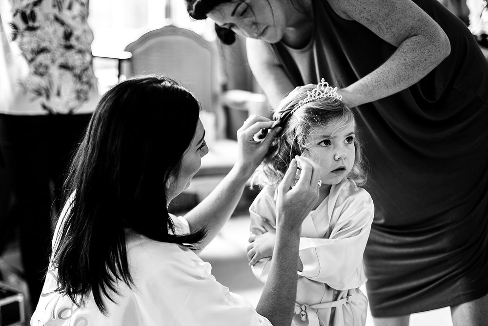 Gosfield Hall Essex Wedding - Flowergirl during Bridal Prep