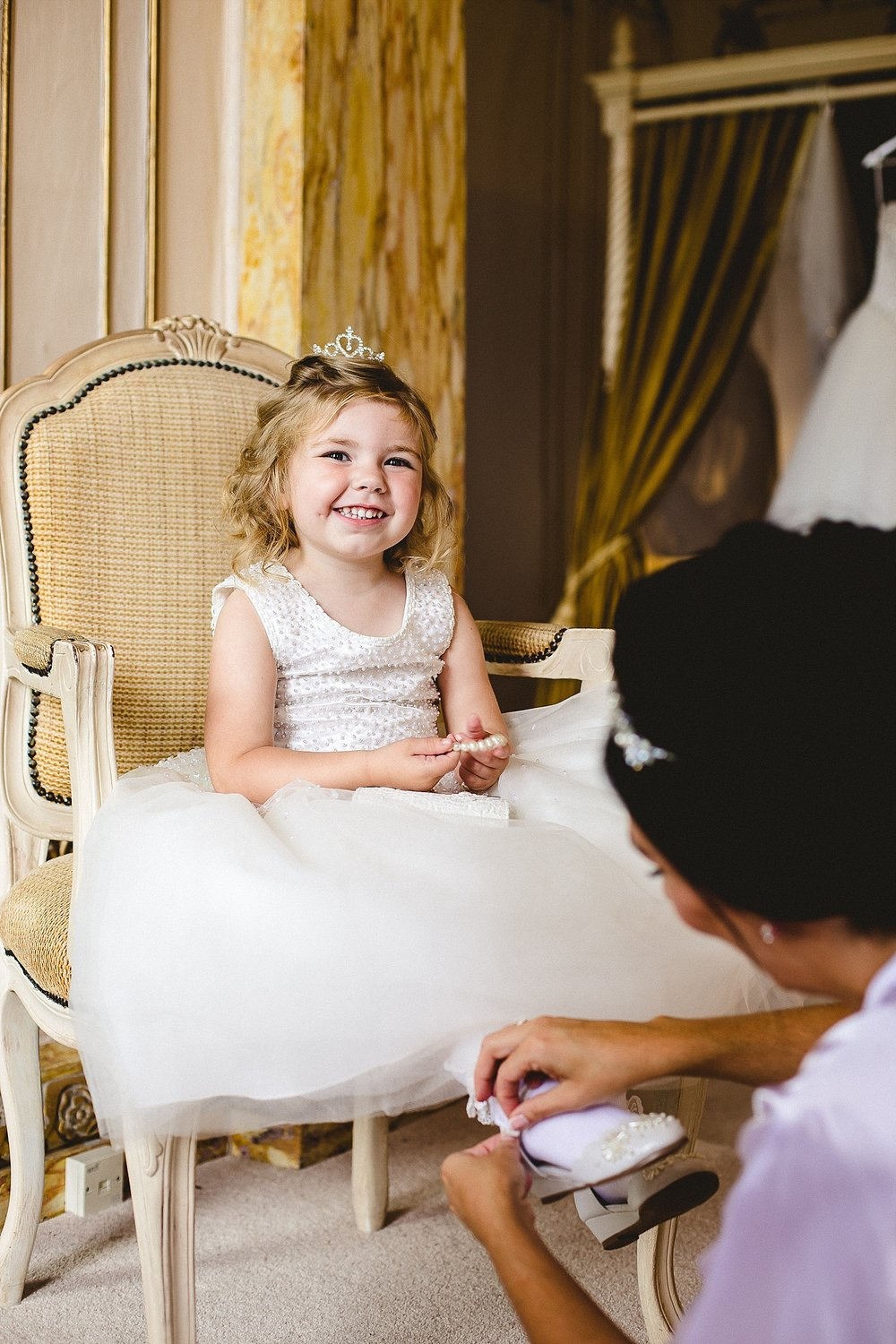 Gosfield Hall Wedding - Flower girl getting ready in Bridal Suite