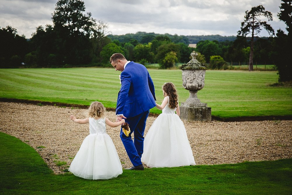 Gosfield Hall Wedding Photography - Groom and flowergirls