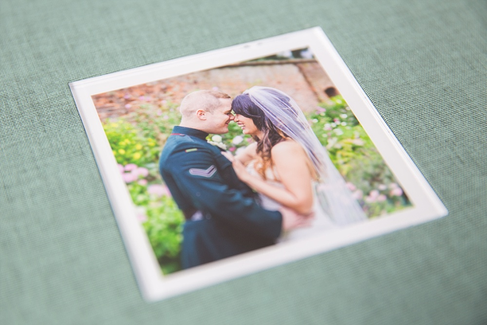Pale green linen wedding album
