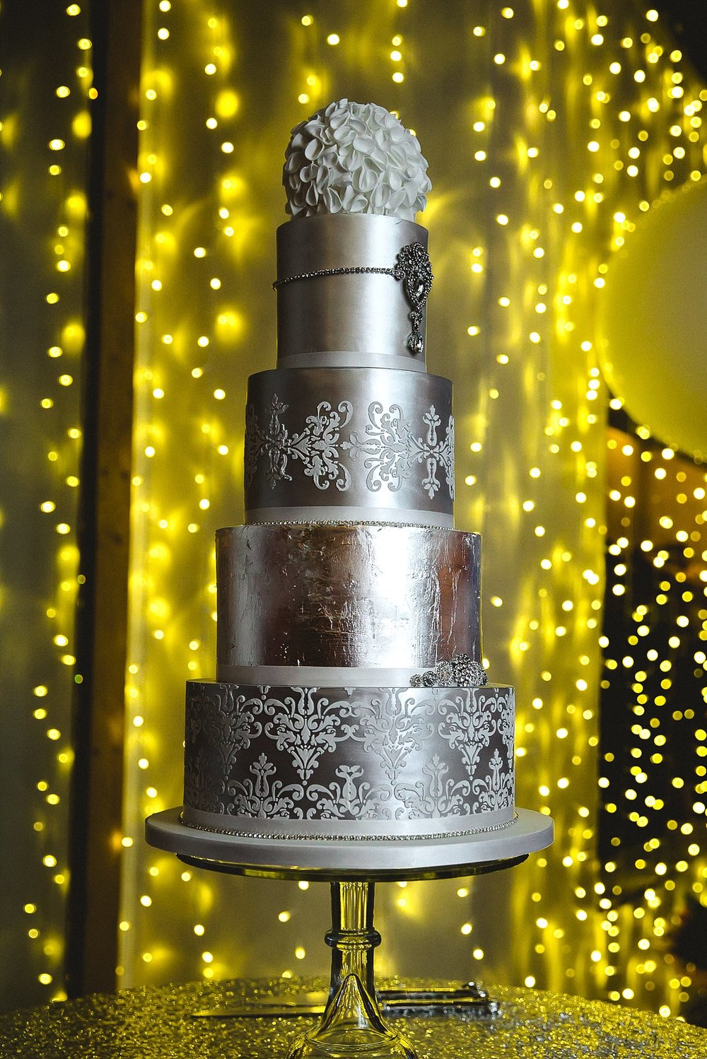 Houchins Wedding Photographer - Four Tier Silver Wedding Cake