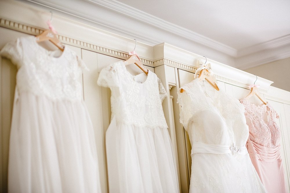 Moor Hall Essex Wedding Photographer - Bridesmaids dresses on Bespoke Hanger