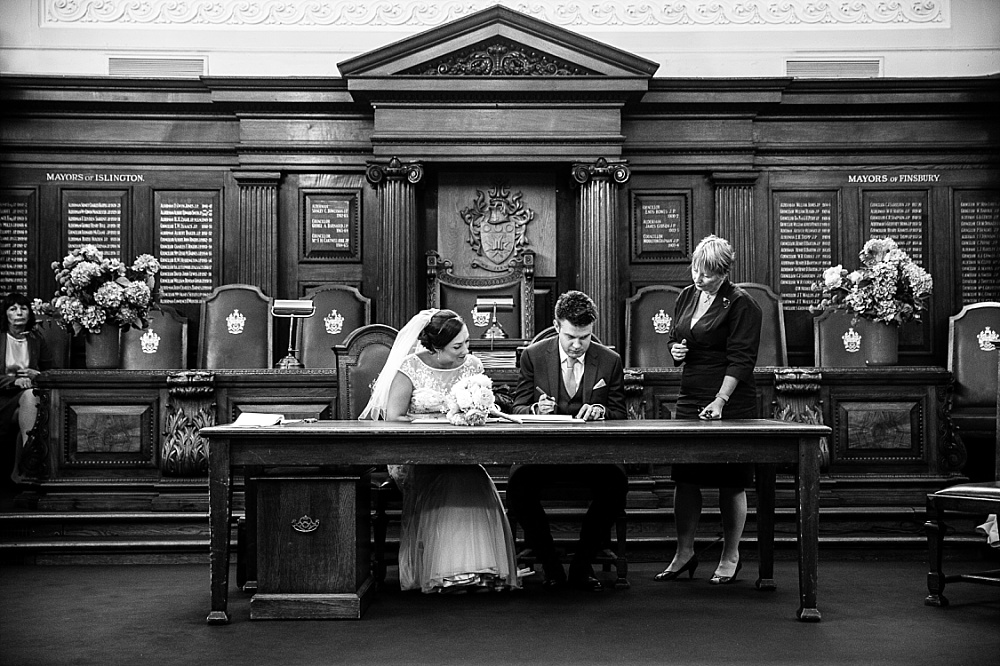 Islington Town Hall Wedding Photographer - Registry Signing
