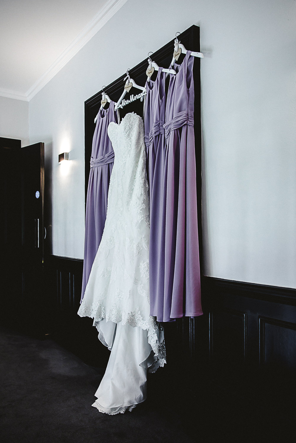 Bridal Gown and Lilac Bridesmaids Dresses = Cambridgeshire Wedding Photographer - Swynford Manor Wedding