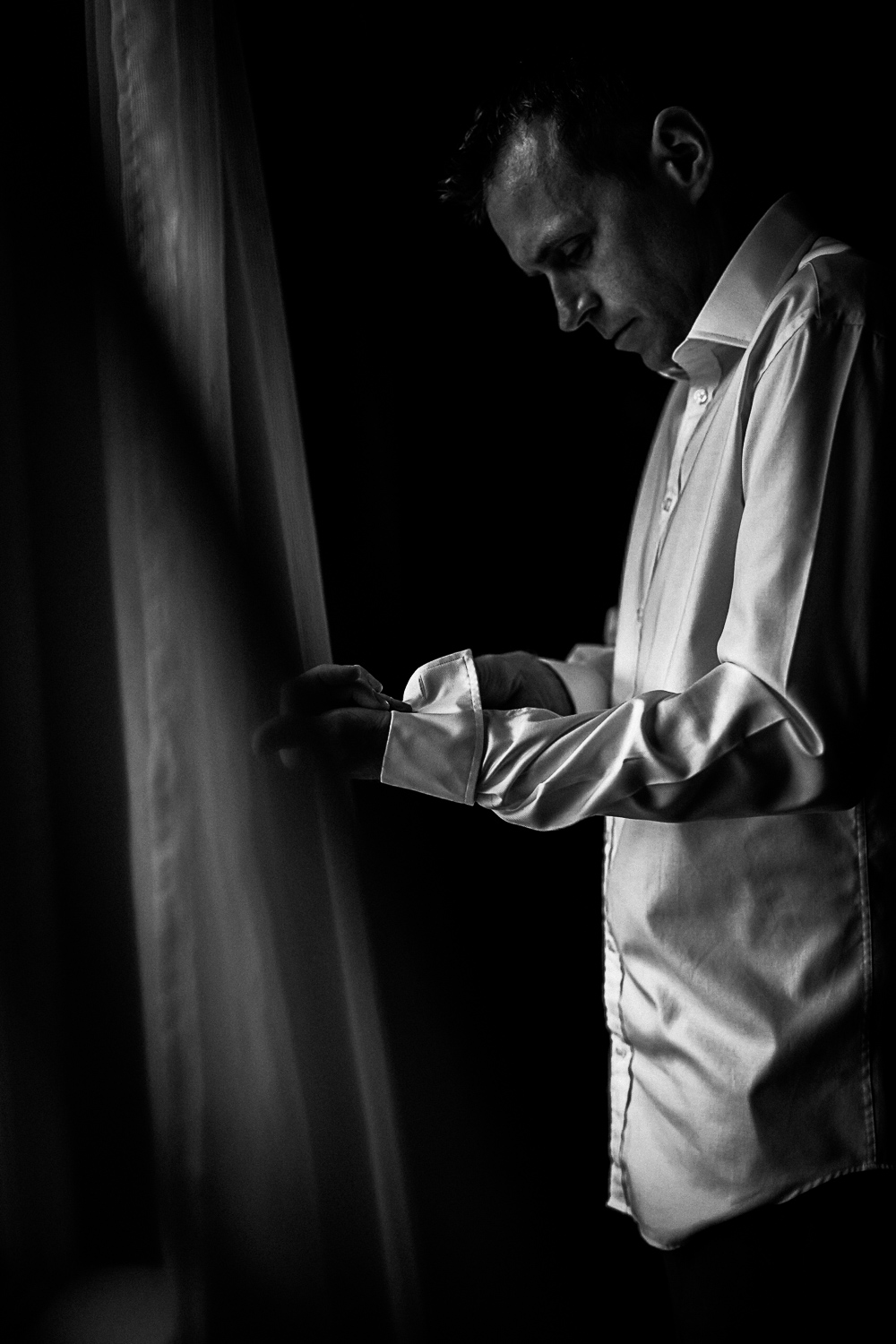 Groom getting ready at Swynford Manor Wedding