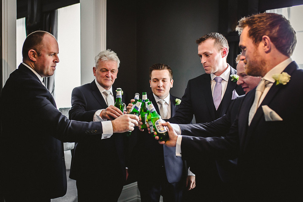 Groomsmen toasting - Swynford Manor Wedding Photography