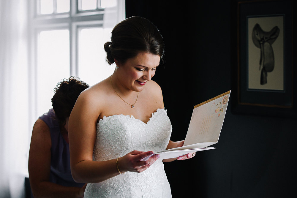 Card from Groom to Bride - Swynford Manor Wedding Photographer