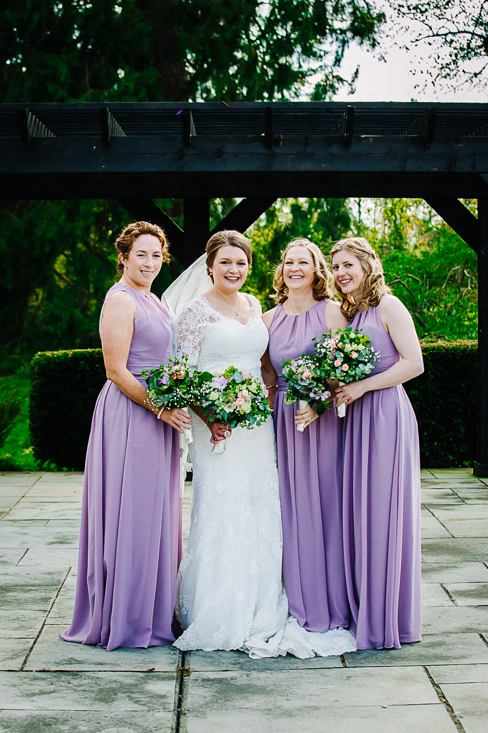 Bridesmaids in Lilac Dresses at Swynford Manor Wedding