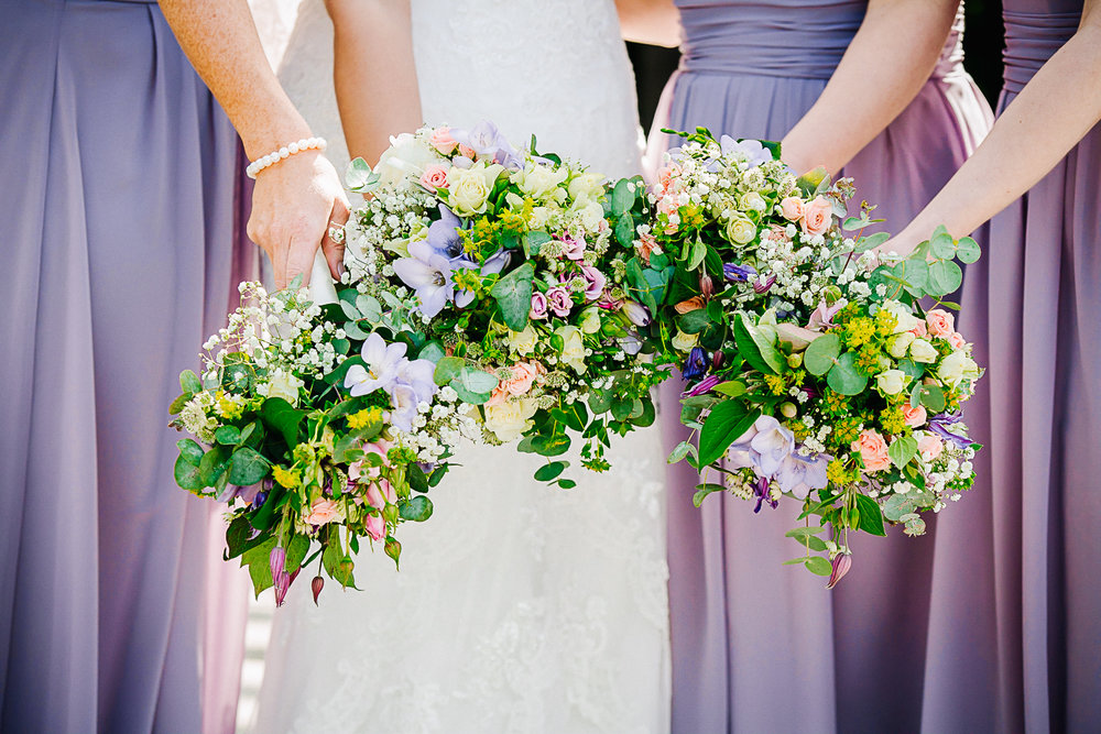 Bridesmaids Spring Bouquets at Swynford Manor Wedding