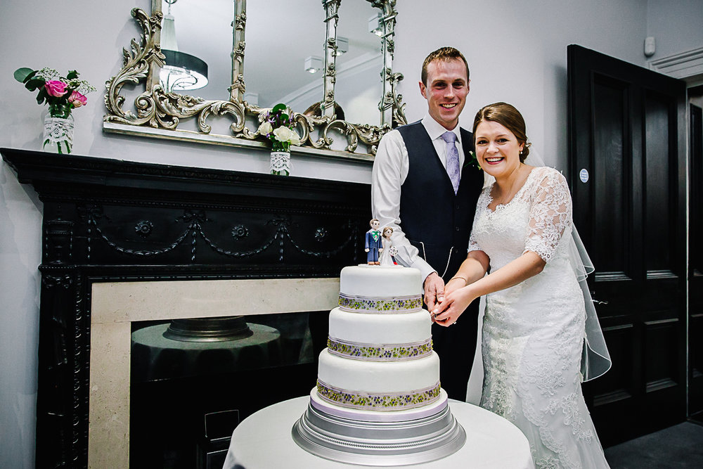 Cake cutting at Swynford Manor Wedding Cambridge