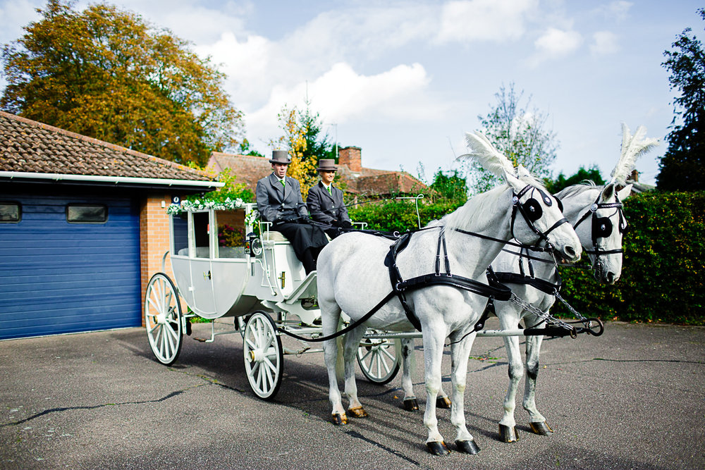 Tudor Barn Belstead Suffolk Wedding - Horse and carriage