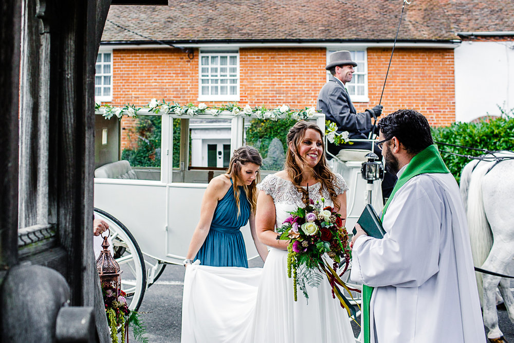 Tudor Barn Belstead Suffolk Wedding Photographer - Horse and carriage