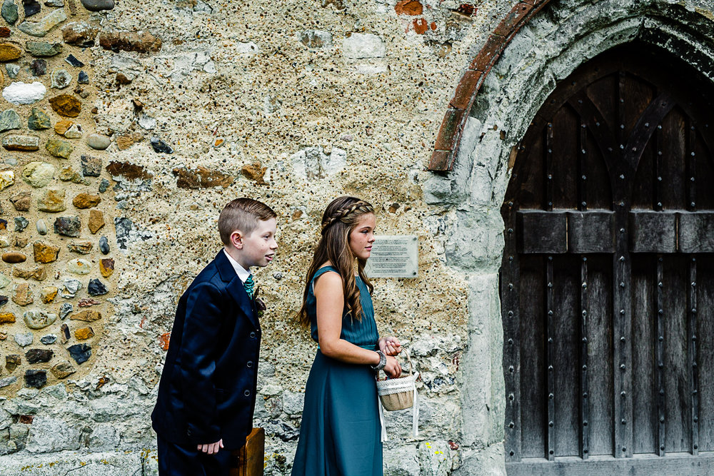 Tudor Barn Belstead Suffolk Wedding Photographer - Children outside the church