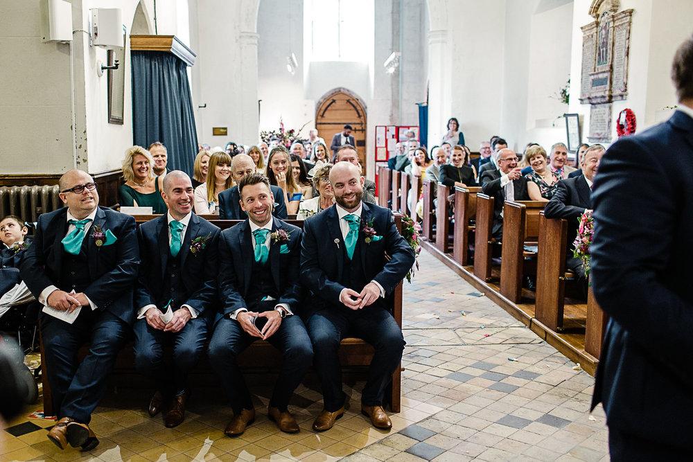 Tudor Barn Belstead Suffolk Wedding Photographer - Bride & Groom at the church altar