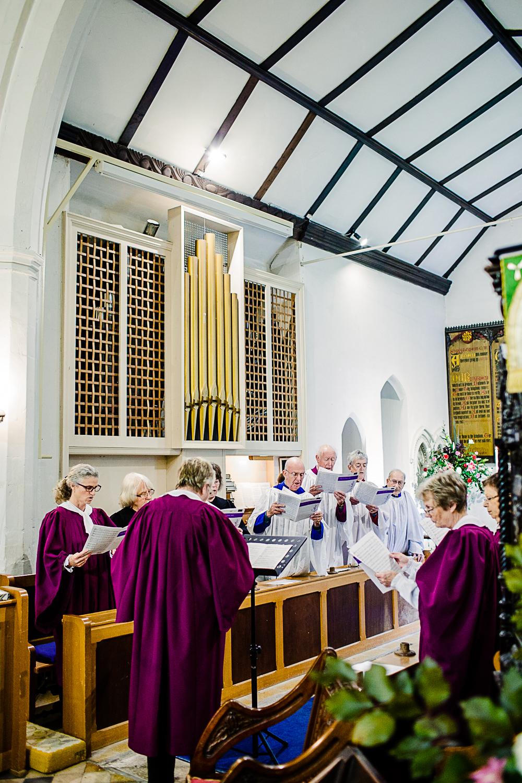 Tudor Barn Belstead Suffolk Wedding Photographer - Church Ceremony Choir