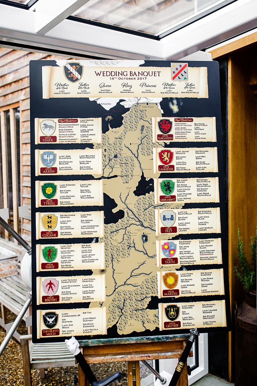 Table Plan - Game of Thrones Themed Wedding Banquet at Tudor Barn Belstead Suffolk