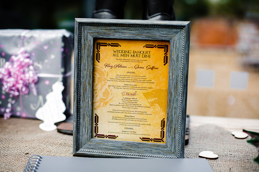Game of Thrones Themed Wedding Banquet Menu at Tudor Barn Belstead Suffolk