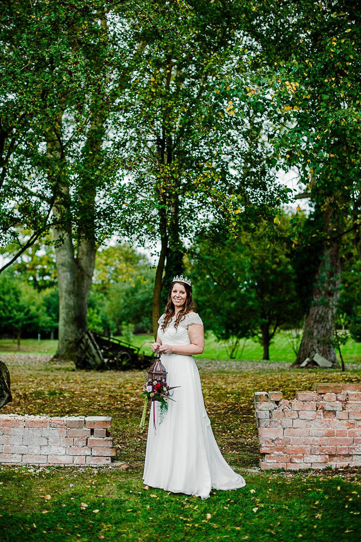 Tudor Barn Belstead Wedding Photographer - Bridal portrait in the gardens