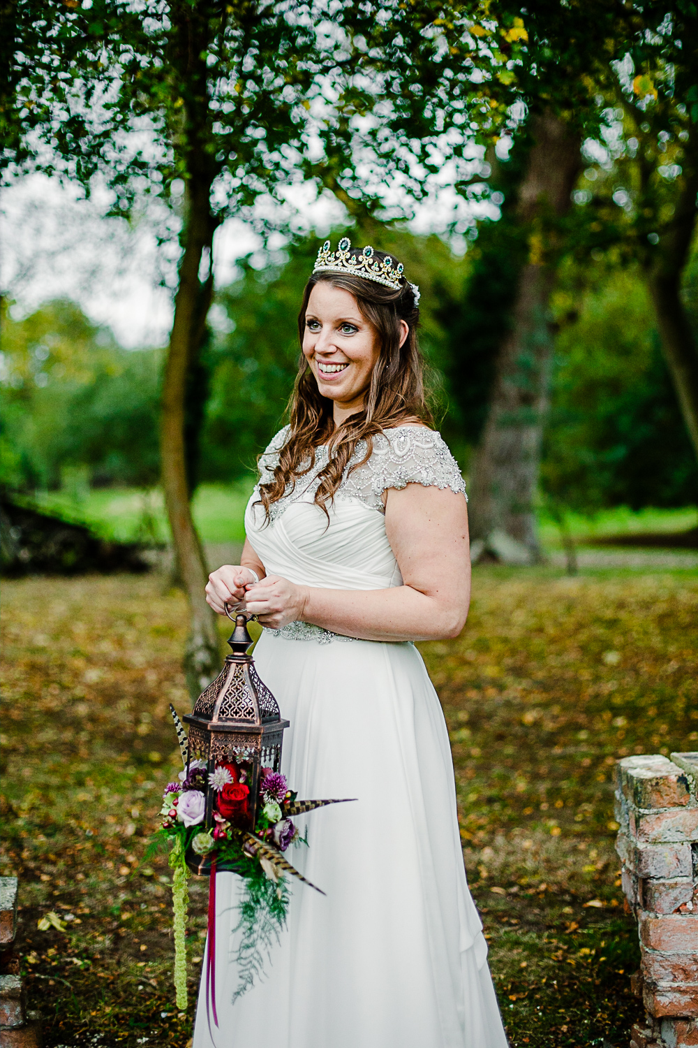 Tudor Barn Belstead Wedding Photographer - Bridal portrait in the gardens - Game of Thrones