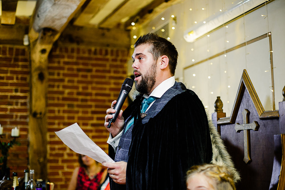 Tudor Barn Belstead Wedding Photographer - Reception Speeches - Game of Thrones Theme