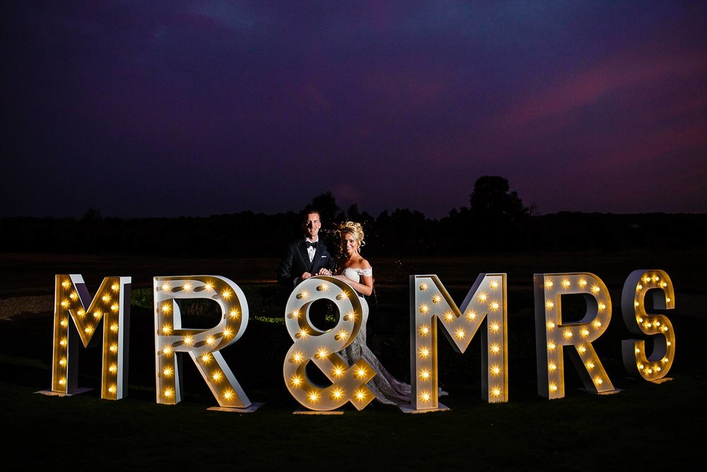 Gosfield Hall Wedding Photographer - Light Up Letters