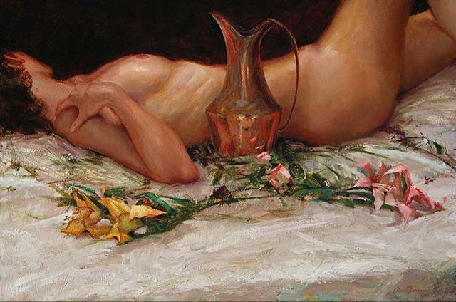 "A still, life 24""x36""  #stilllife #nude #fineart #art #painting #oilpainting #wallart #flowers #taos #newmexico #santafe #artcollector #gallery"