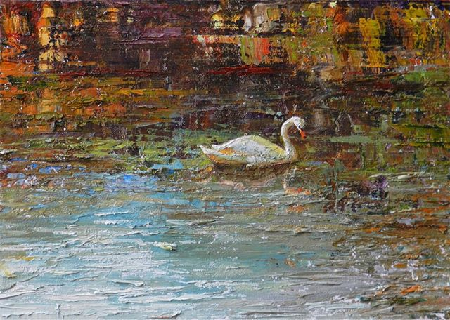 Swan Lake  This painting started off as an #abstract. The more I worked with it, the more it began to to remind me of #water.  #oilPainting #fineArt #swan #lake