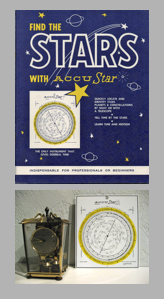 An elaborate mix of vintage star calculating equipment takes precedence in the author's collection. Accustar's 90-page pamphlet fits nicely on bookcase shelves, while the sky finder contributes to an older clock collection.