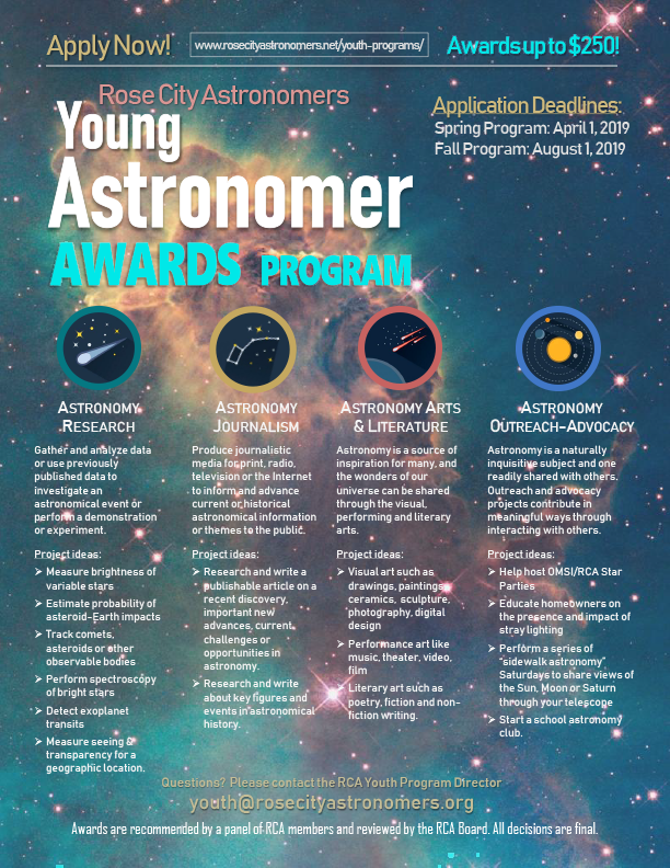 Promotional Poster for the Young Astronomers Award Program
