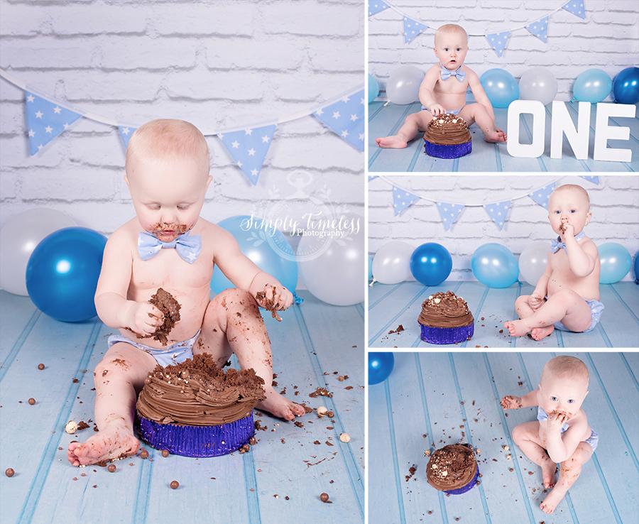 Loving his chocolate cake!