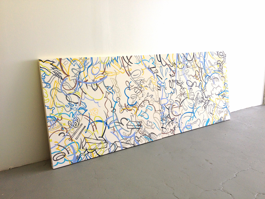 Stephen Tompkins  Samsara Seems  Acrylic on Canvas 130 x 48 inches (2 panels) 2013  SOLD