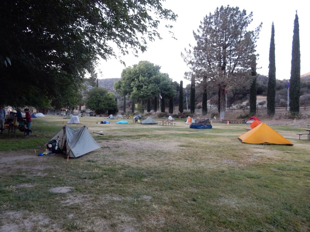 Hiker tents on the lawn.