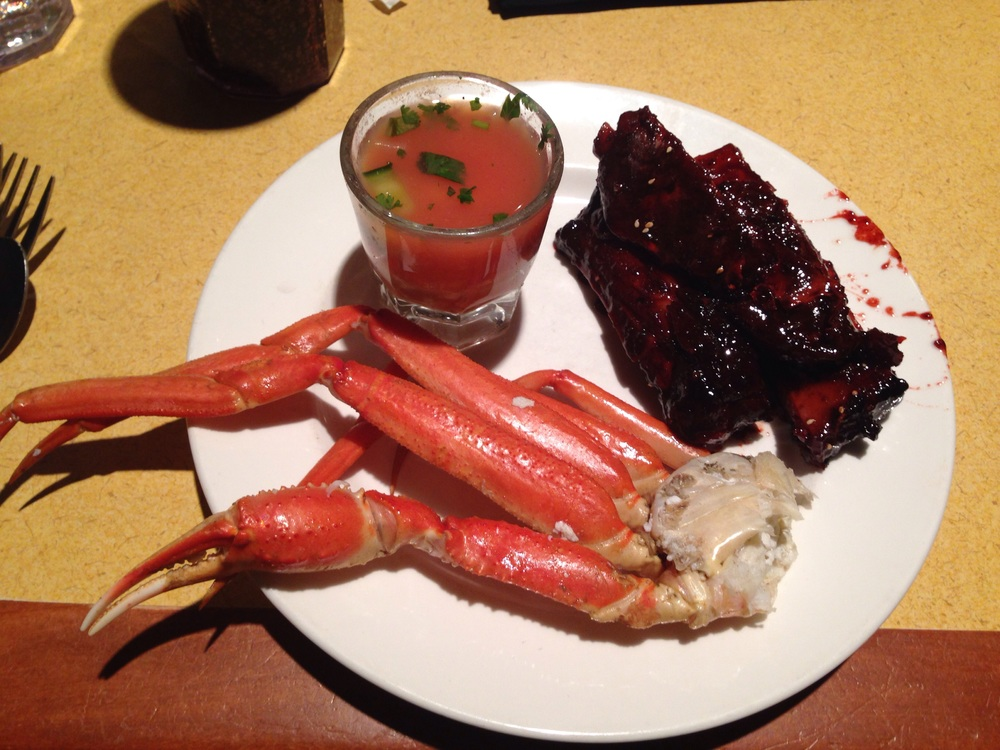 Round 1: Shrimp gazpacho, crab legs and BBQ ribs.
