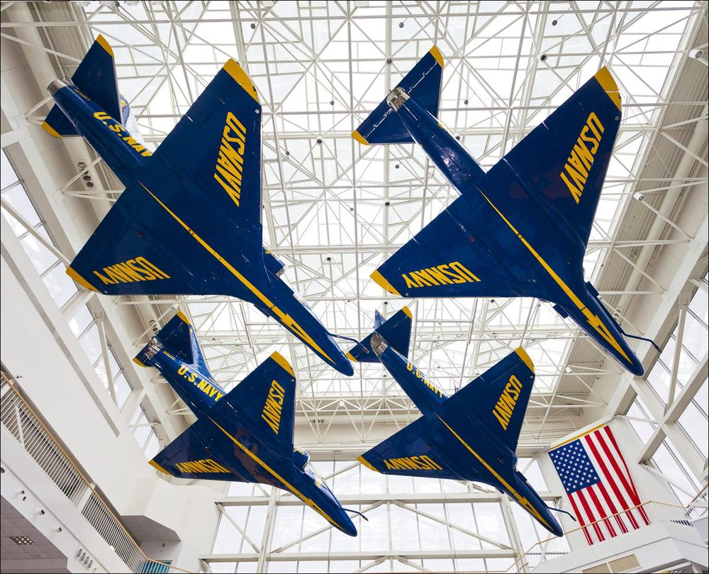 Formerly used by the Blue Angels, these A4 Skyraiders hang from the ceiling of the Naval Aviation Museum in Pensacola, Florida.