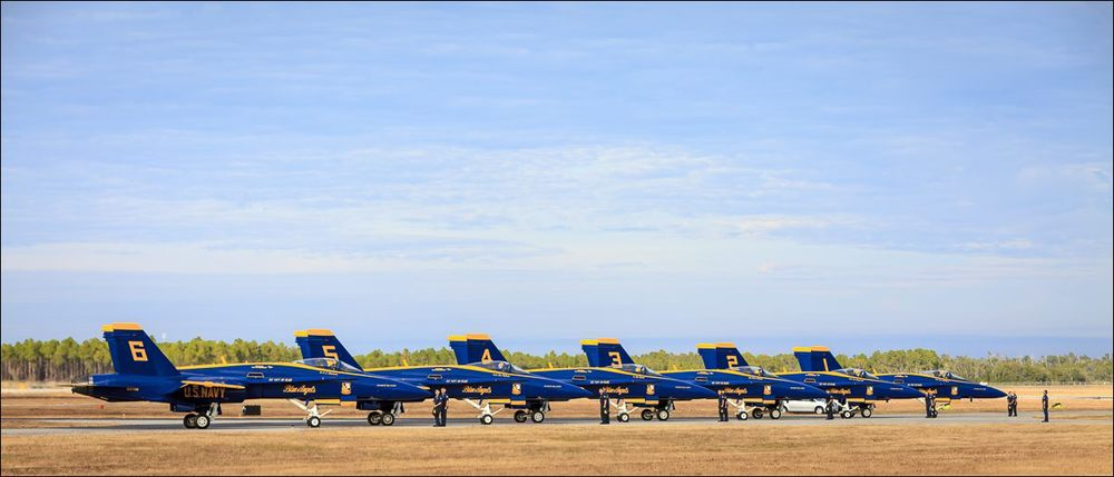 The Blue Angels park on the ramp after their last performance of the 2011 season.  Naval Air Station Pensacola.