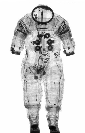 X-ray photograph of Alan Shepard's Apollo 14 spacesuit.