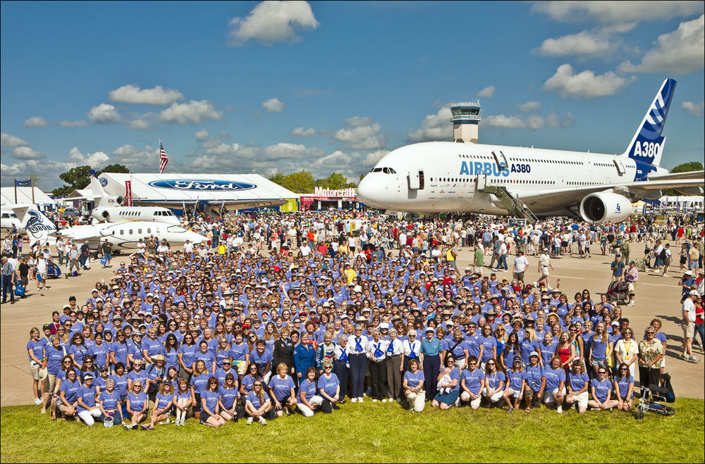 "The WAI ""Group Shot"" in AeroShell Square during AirVenture 2009.  Oshkosh, Wisconsin."