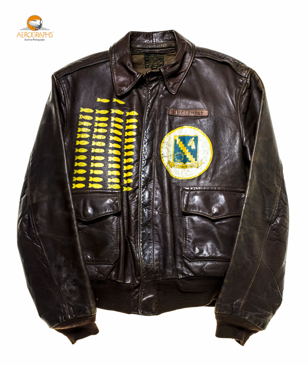 The A2 jacket of Mr. A.B. Clement, a B-24 top gunner who flew 50 missions, and lived to tell the tale.  ©2014 John Slemp