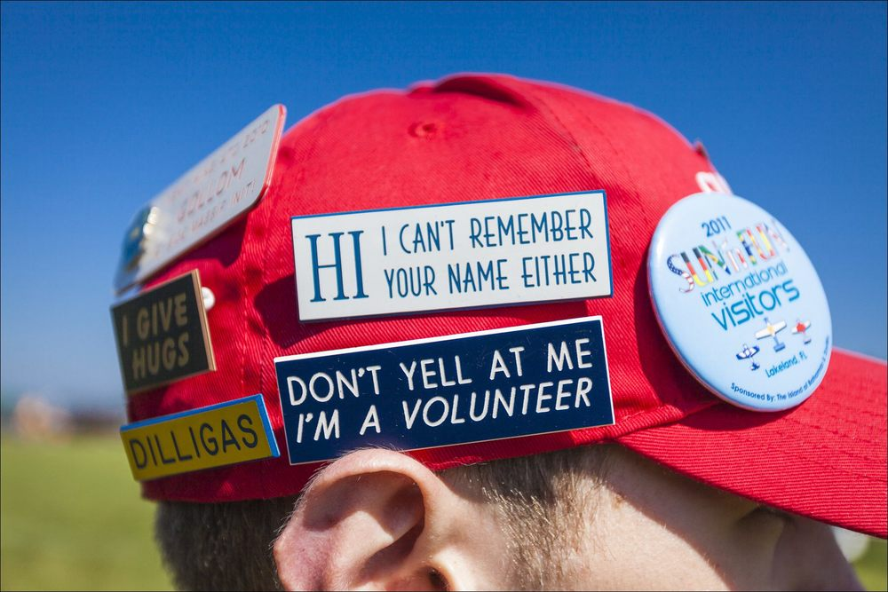 A volunteer's cap at the seaplane base during Sun 'n Fun in April, 2011.  ©2011 John Slemp