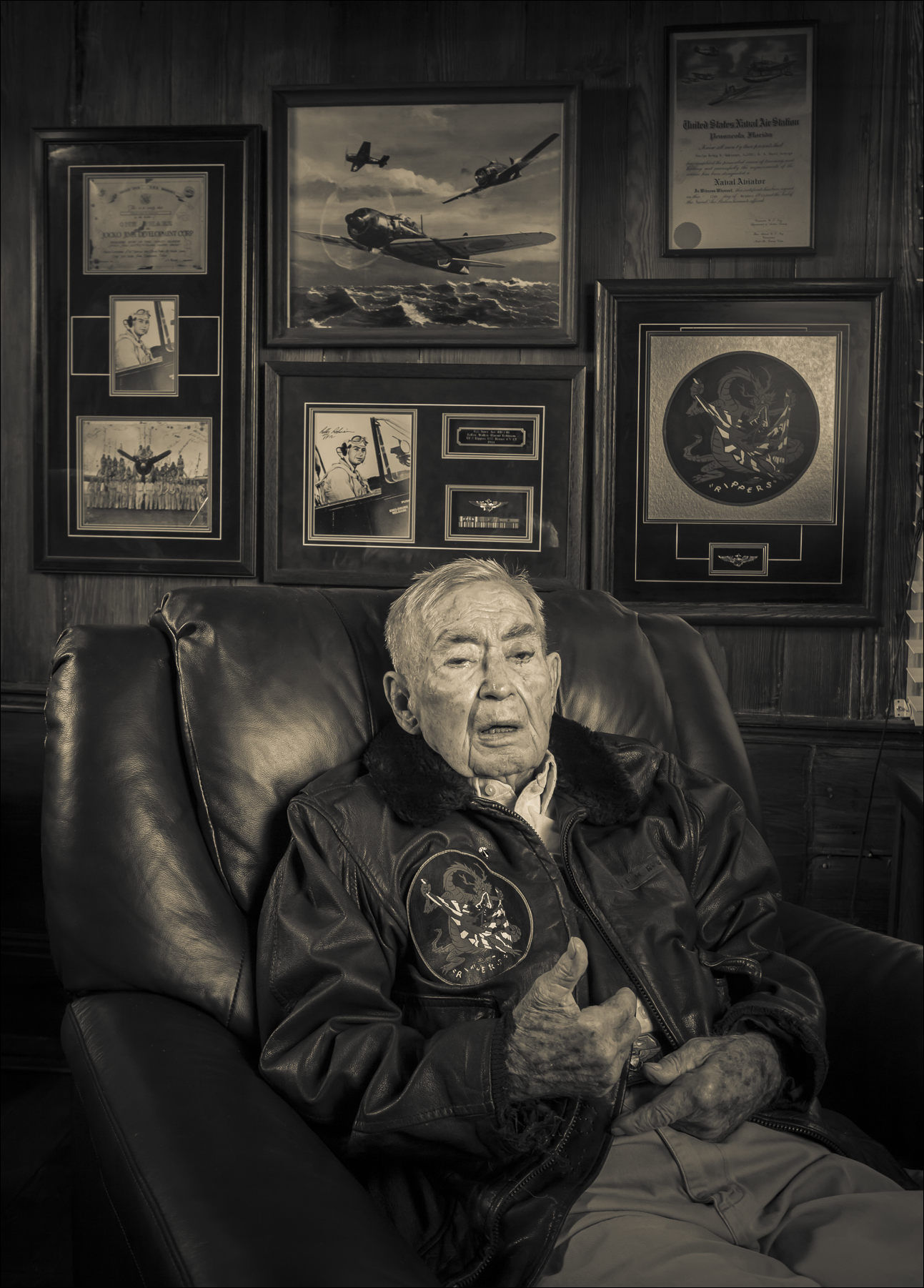 Commander Leroy Robinson sports his original G-1 flight jacket.  He flew in both WWII and Korea, and later had a 32 year career with Delta Air Lines.  Tignall, Georgia.  ©2014 John Slemp