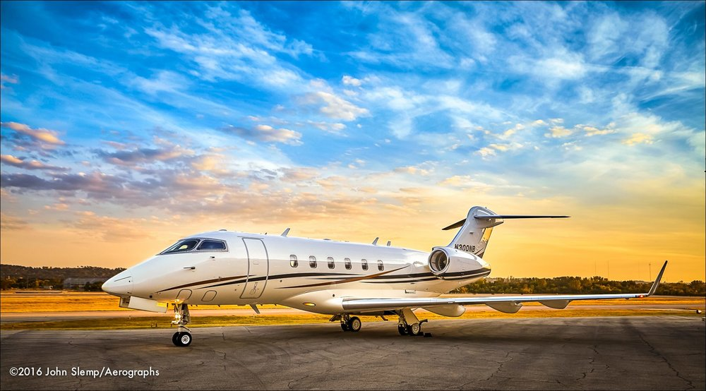 Bombardier Challenger 300, photographed recently on the ramp at Birmingham-Shuttlesworth International Airport.