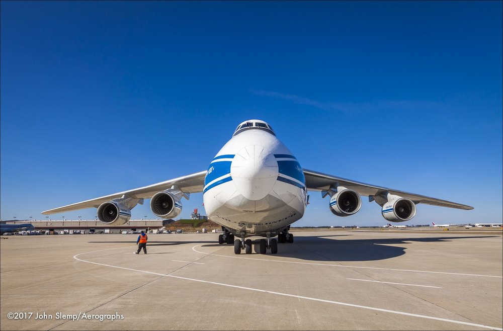 The Antonov AN 124-100 shortly after arrival at Atlanta's Hartsfield-Jackson International Airport.