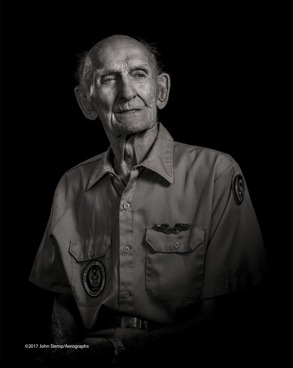 WWII B-17 waist gunner Billy Lewis, photographed at his home in Baxley, Georgia.