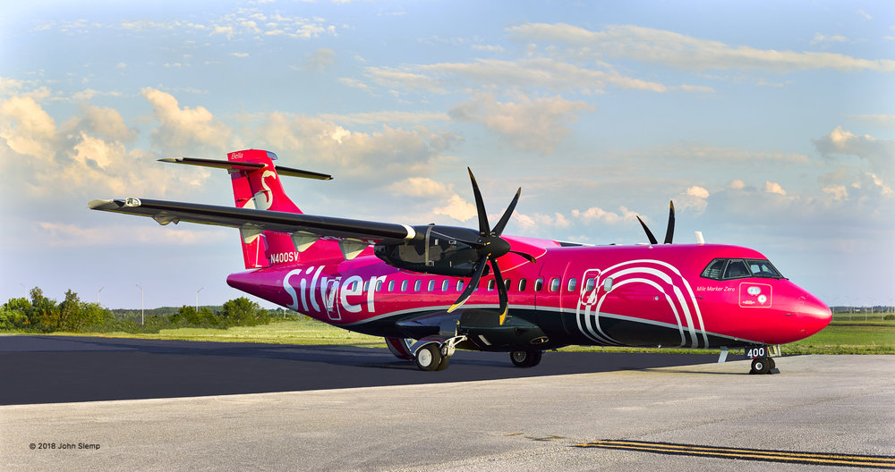 New livery of the Silver Airways ATR 42-500 on the ramp at Orlando International Airport.