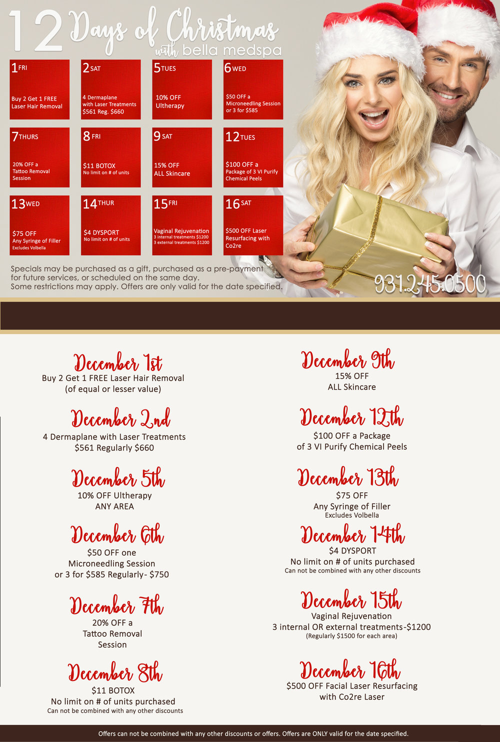 Specials events bella medical spa for 12 days of christmas salon specials