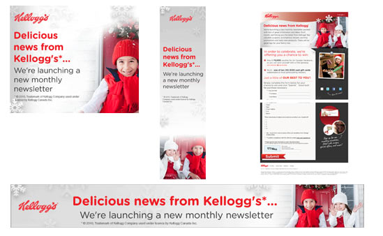 Kelloggs contest banner ads & homepage