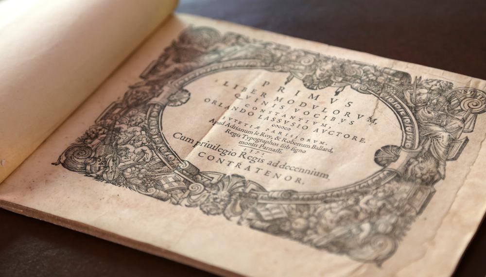 Primus [-Secundus] Liber Modulorum, Quinis Vocibus Constantium (title page) — Orlande de Lassus (Paris 1571).