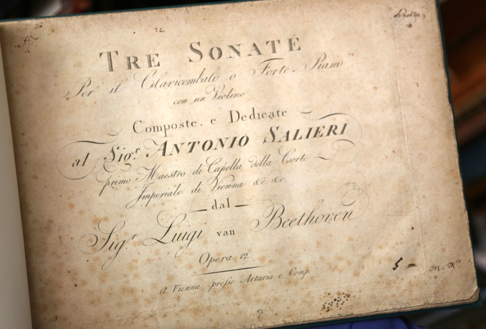 Beethoven: First Edition of the 3 Sonatas for Violin and Piano, Op. 12 — dedicated to Antonio Salieri (Vienna, 1799).